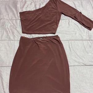 Silky Purple two piece skirt set